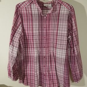 Roaman's 20W button-up shirt pink and purple plaid